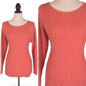 Croft & Barrow Large Coral Cable Knit Sweater